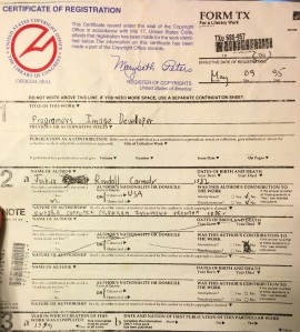 A portion of the copyright form returned to me by The Library of Congress in 1995